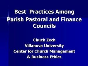 Best Practices Among Parish Pastoral and Finance Councils