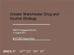 Greater Manchester Drug and Alcohol Strategy GMVCO Engagement