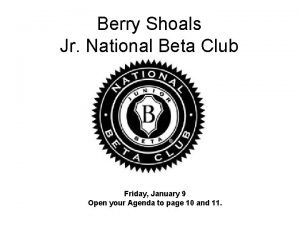 Berry Shoals Jr National Beta Club Friday January