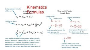 Kinematics Formulas Instantaneous velocity at time t These