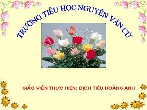 GIO VIN THC HIN DCH TIU HONG ANH