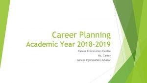 Career Planning Academic Year 2018 2019 Career Information