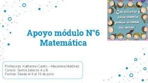 Apoyo mdulo N 6 Matemtica Profesoras Katherine Castro