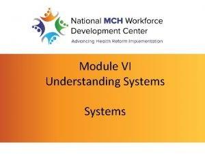 Module VI Understanding Systems Understanding Systems Systems System