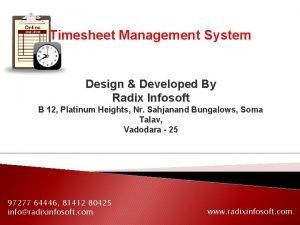 Timesheet Management System Design Developed By Radix Infosoft