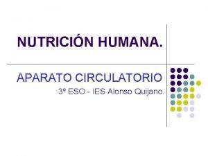 NUTRICIN HUMANA APARATO CIRCULATORIO 3 ESO IES Alonso