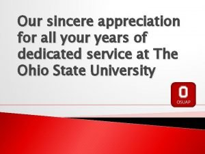 Our sincere appreciation for all your years of