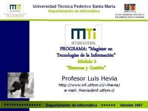 Universidad Tcnica Federico Santa Mara Departamento de Informtica
