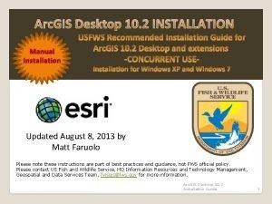 Arc GIS Desktop 10 2 INSTALLATION Manual Installation