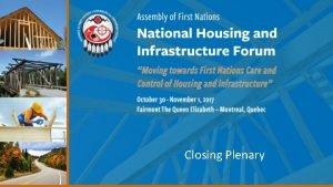 Closing Plenary Opening Summary Day 1 Opening remarks