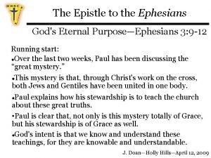 The Epistle to the Ephesians Gods Eternal PurposeEphesians