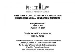 NEW YORK COUNTY LAWYERS ASSOCIATION CONTINUING LEGAL EDUCATION