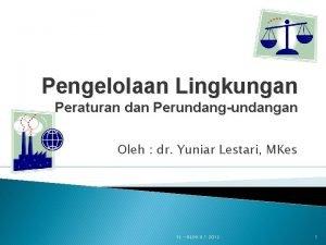 Pengelolaan Lingkungan Peraturan dan Perundangundangan Oleh dr Yuniar