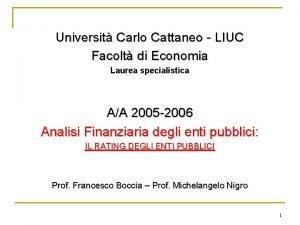 Universit Carlo Cattaneo LIUC Facolt di Economia Laurea