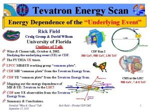Tevatron Energy Scan Energy Dependence of the Underlying
