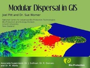 Modular Dispersal in GIS Joel Pitt and Dr