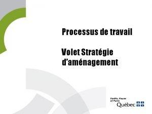 Processus de travail Volet Stratgie damnagement Stratgie damnagement