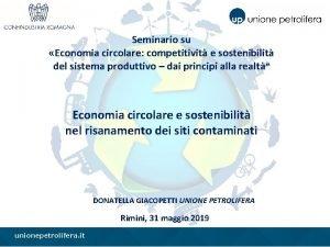 Seminario su Economia circolare competitivit e sostenibilit del