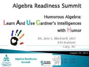 Algebra Readiness Summit Humorous Algebra Learn And Use