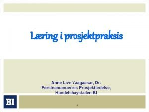 Lring i prosjektpraksis Anne Live Vaagaasar Dr Frsteamanuensis