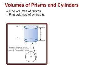 Volumes of Prisms and Cylinders Find volumes of