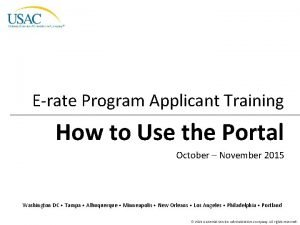 Erate Program Applicant Training How to Use the