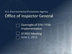 U S Environmental Protection Agency Office of Inspector