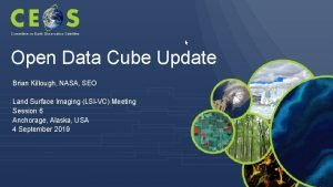 Committee on Earth Observation Satellites Open Data Cube