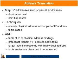 Address Translation Map IP addresses into physical addresses