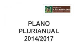 PLANO PLURIANUAL 20142017 O QUE PPA O PLANO