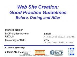 Web Site Creation Good Practice Guidelines Before During