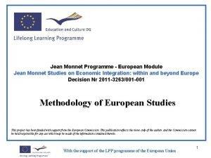 Jean Monnet Programme European Module Jean Monnet Studies