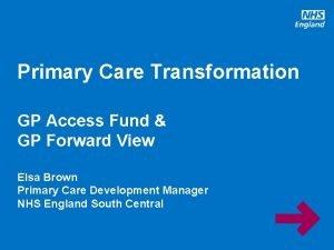 Primary Care Transformation GP Access Fund GP Forward
