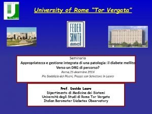 University of Rome Tor Vergata Prof Davide Lauro