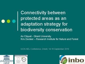 Connectivity between protected areas as an adaptation strategy