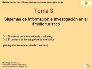 Marketing Turstico Tema 3 Sistemas de Informacin e