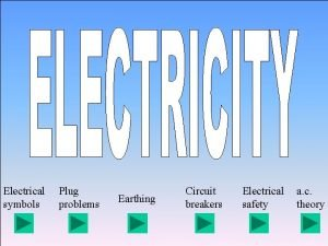 Electrical symbols Plug problems Earthing Circuit breakers Electrical