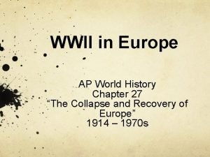 WWII in Europe AP World History Chapter 27