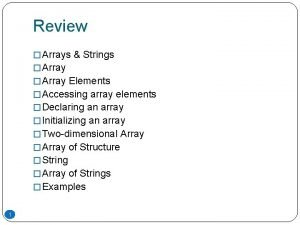 Review Arrays Strings Array Elements Accessing array elements