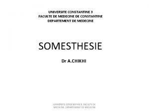 UNIVERSITE CONSTANTINE 3 FACULTE DE MEDECINE DE CONSTANTINE