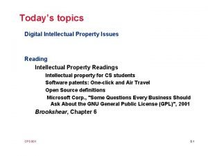 Todays topics Digital Intellectual Property Issues Reading Intellectual