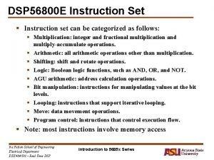 DSP 56800 E Instruction Set Instruction set can
