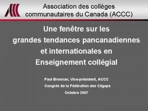 Association des collges communautaires du Canada ACCC Une