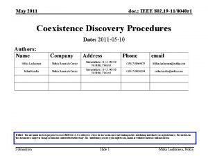 May 2011 doc IEEE 802 19 110040 r