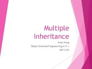 Multiple Inheritance Andy Wang Object Oriented Programming in