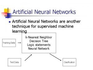 Artificial Neural Networks n Artificial Neural Networks are