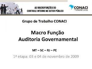 Grupo de Trabalho CONACI Macro Funo Auditoria Governamental