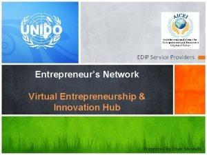 EDIP Service Providers Entrepreneurs Network Virtual Entrepreneurship Innovation