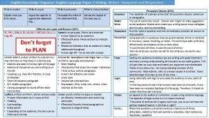 English Knowledge Organiser English Language Paper 2 Writing