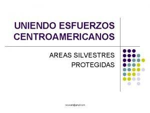 UNIENDO ESFUERZOS CENTROAMERICANOS AREAS SILVESTRES PROTEGIDAS rosacamgmail com